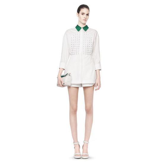 WHITE ALEXANDER WANG LONG SLEEVE COLLARED ROMPER
