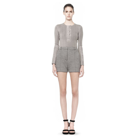 GRAY ALEXANDER WANG LONG SLEEVE HENLEY SWEATSHIRT