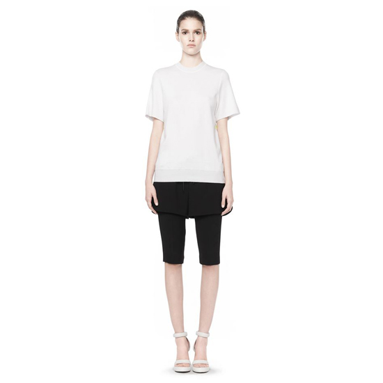 WHITE ALEXANDER WANG CREW NECK TEE WITH CHAMBRAY DETAIL