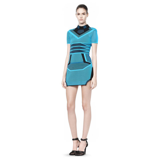 BLUE ALEXANDER WANG BI COLOR MESH TEE DRESS