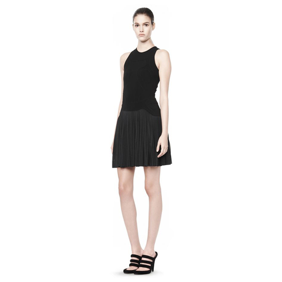 BLACK ALEXANDER WANG PLEATED DRESS WITH SNEAKER DETAIL