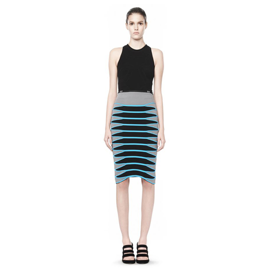 BLUE ALEXANDER WANG MESH PENCIL SKIRT WITH CURVED HEM