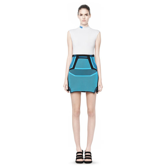 BLUE ALEXANDER WANG BI COLOR MESH MINI SKIRT