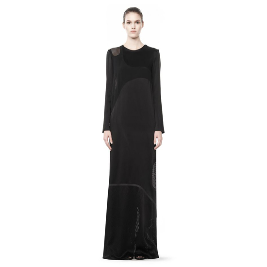 BLACK ALEXANDER WANG LONG SLEEVE LASERCUT AND WELDED DRESS