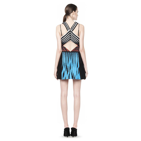 MULTICOLOR ALEXANDER WANG PLEATED CAMISOLE DRESS