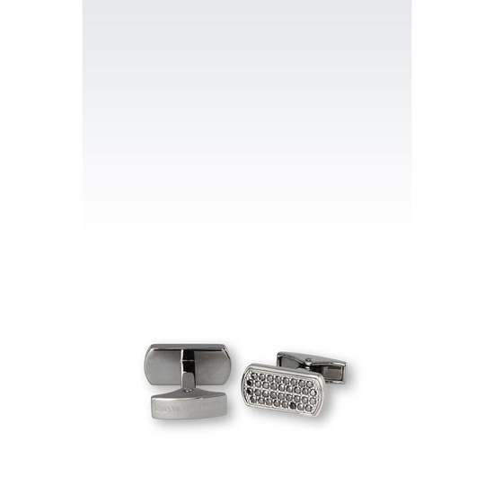 ARMANI CUFF LINKS IN SILVER AND CZ STONES
