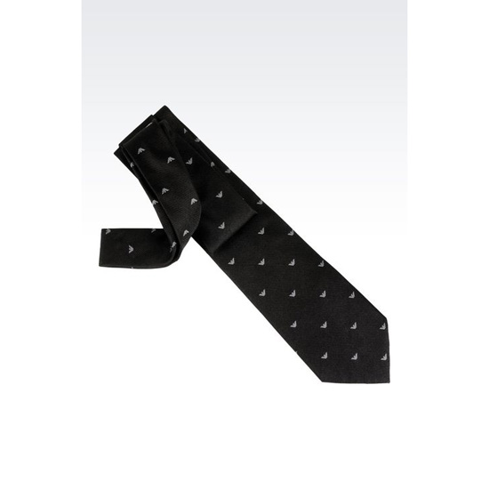 ARMANI SILK TIE WITH LOGO PATTERN