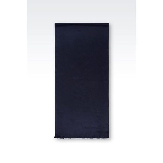 ARMANI SCARF IN LOGO PATTERNED WOOL