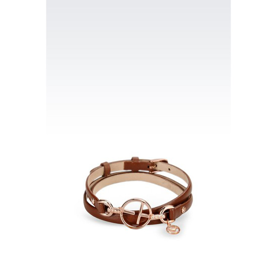 ARMANI LEATHER BRACELET WITH ROSE GOLD-PLATED CHARM