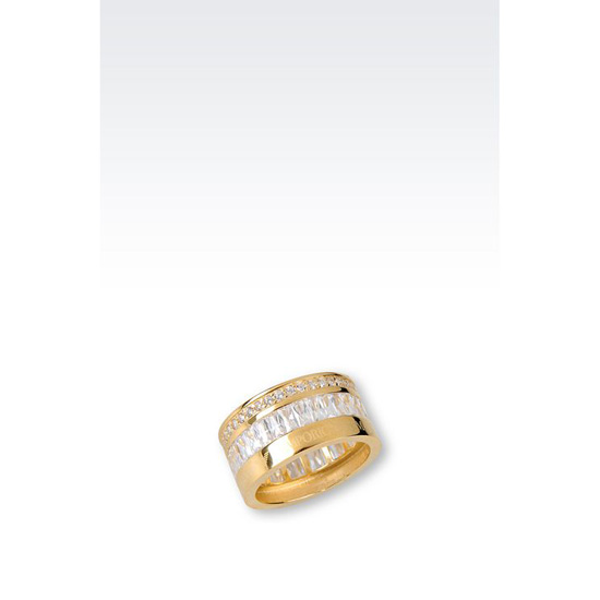 ARMANI RING IN GOLD-PLATED SILVER AND CZ STONES