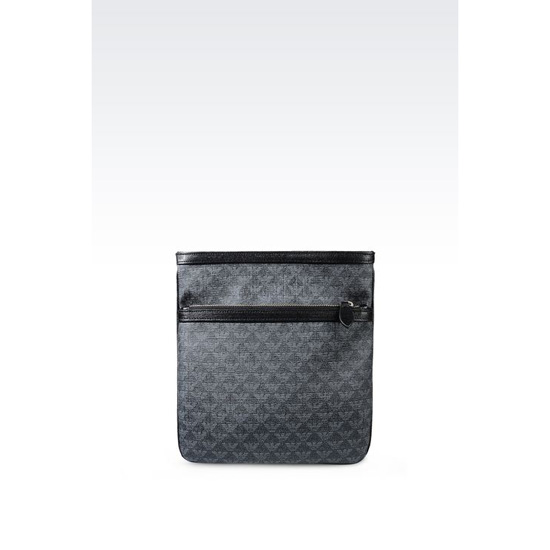 ARMANI FLAT MESSENGER BAG IN LOGO PVC AND SAFFIANO CALFSKIN