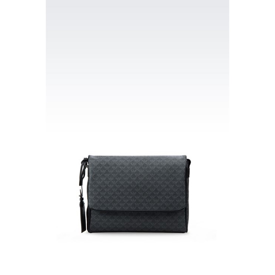 ARMANI MESSENGER BAG IN PVC WITH LOGO PRINT