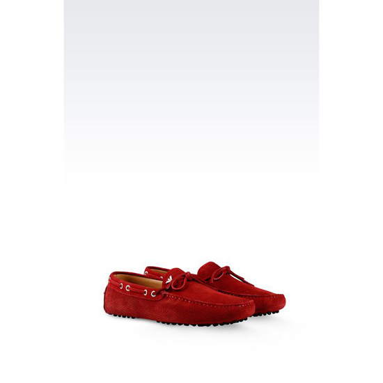 ARMANI DRIVING SHOE IN MICRO PERFORATED SUEDE