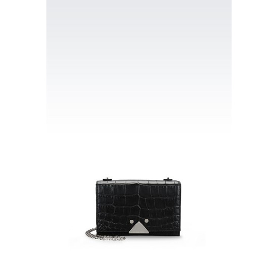 ARMANI SMALL BAG IN CROC PRINT CALFSKIN WITH CHAIN STRAP