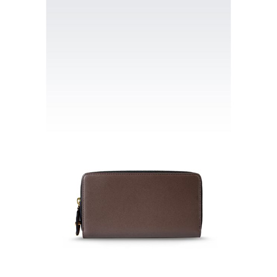 ARMANI ZIP AROUND WALLET IN BOARDED CALFSKIN