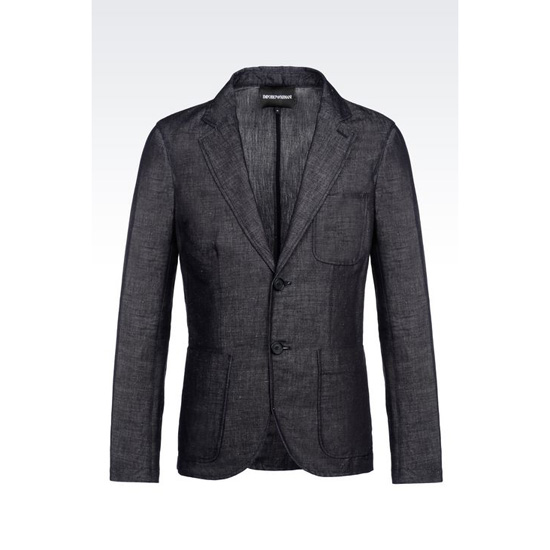 ARMANI DECONSTRUCTED JACKET IN DENIM EFFECT COTTON AND LINEN