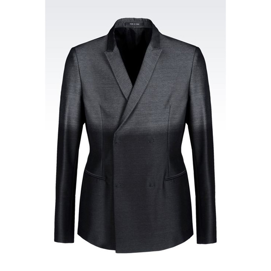 ARMANI DOUBLE-BREASTED JACKET IN SHADED JACQUARD