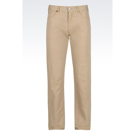 ARMANI REGULAR FIT 5-POCKET TROUSERS IN LINEN BLEND