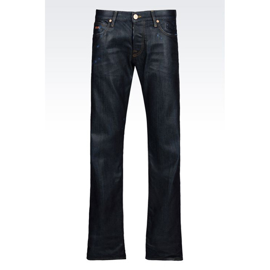 ARMANI REGULAR FIT DARK WASH SHINING EFFECT JEANS