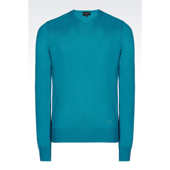 ARMANI V-NECK SWEATER IN SHAVED WOOL