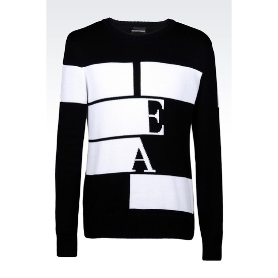 ARMANI COTTON SWEATER WITH LOGO