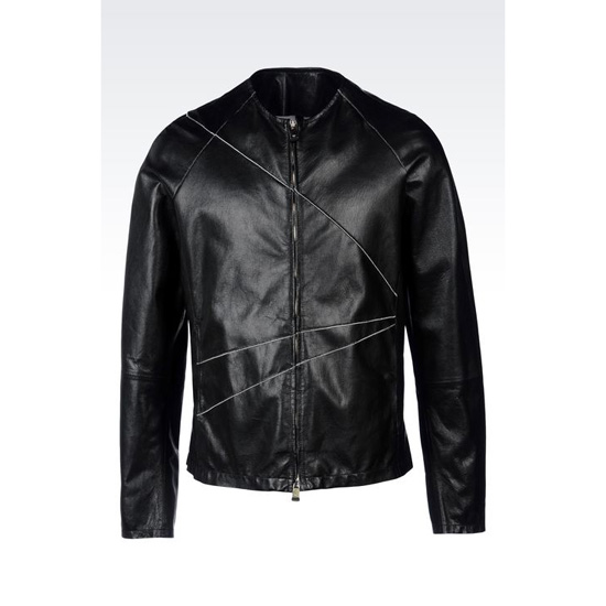 ARMANI CREW NECK BLOUSON IN NAPA LEATHER