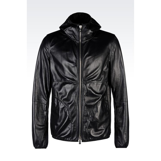 ARMANI BLOUSON IN NAPA LAMBSKIN WITH HOOD