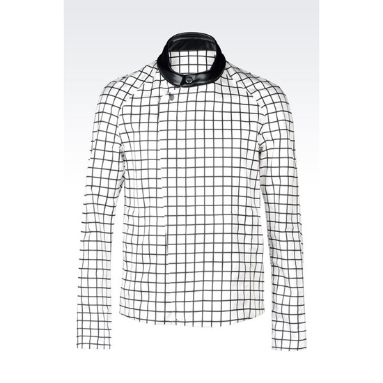 ARMANI RUNWAY BLOUSON IN CHECK PRINTED SILK
