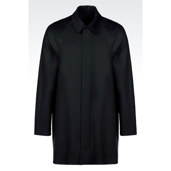 ARMANI WORSTED SINGLE BREASTED WOOL COAT WITH SIDE ZIPS