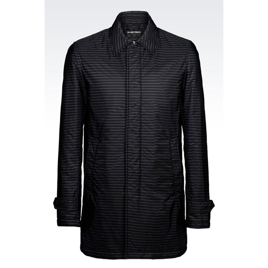 ARMANI COAT IN STRIPED TECHNICAL FABRIC