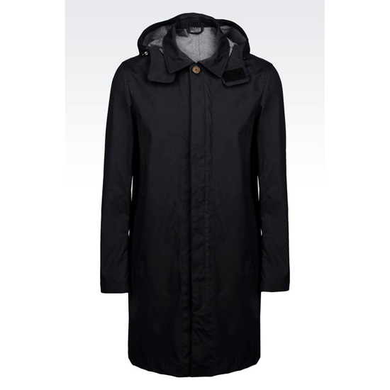 ARMANI TRENCH IN NYLON JERSEY WITH DETACHABLE HOOD