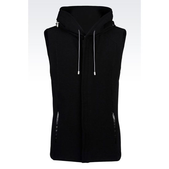 ARMANI ZIP HOODED VEST IN COTTON BLEND OTTOMAN