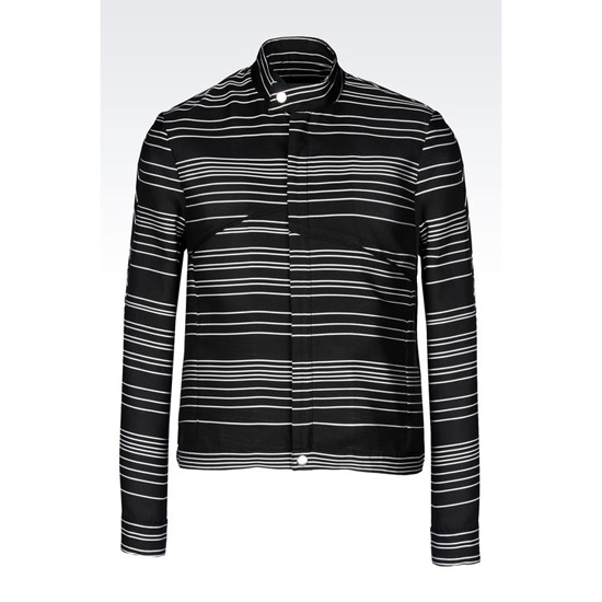 ARMANI RUNWAY BLOUSON IN OPTICAL STRIPE SILK BLEND