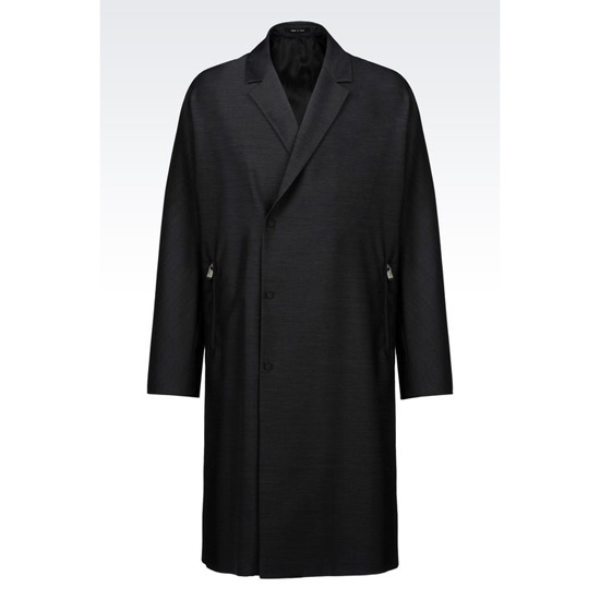ARMANI RUNWAY COAT IN COTTON AND WOOL SATIN