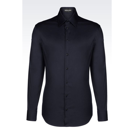 ARMANI SLIM FIT POPLIN STRETCH COTTON SHIRT