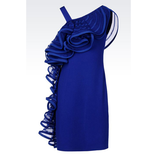 ARMANI RUNWAY DRESS IN VISCOSE BLEND WITH RUFFLE