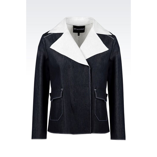 ARMANI DOUBLE-BREASTED BLOUSON IN DENIM AND JERSEY