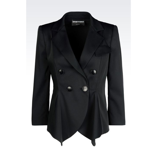 ARMANI DOUBLE-BREASTED JACKET IN STRETCH FAILLE