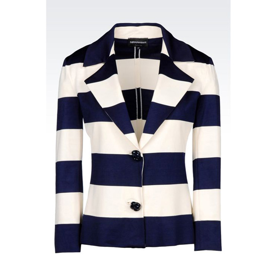 ARMANI JACKET IN STRIPED MILANO RIB