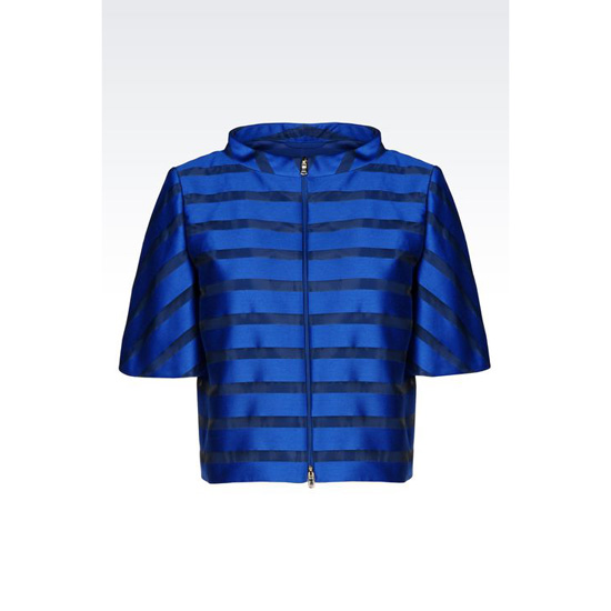 ARMANI FULL ZIP JACKET IN STRIPED PEKIN