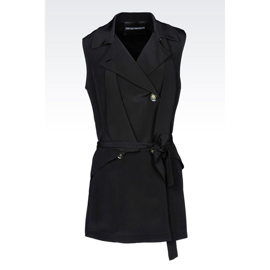 ARMANI LONG DOUBLE-BREASTED GILET IN SILK