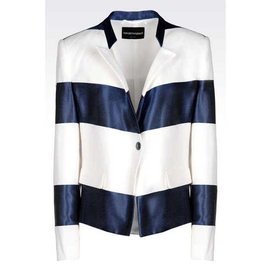 ARMANI RUNWAY JACKET IN STRIPED COTTON BLEND