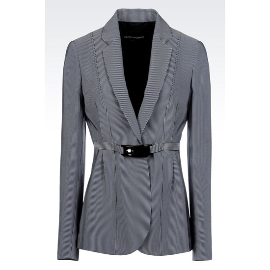 ARMANI JACKET IN MICRO STRIPED CADY
