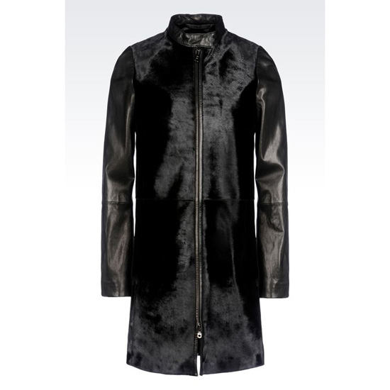 ARMANI FULL ZIP COAT IN PONY SKIN EFFECT CALFSKIN