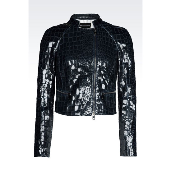 ARMANI SHORT BLOUSON IN CROC PRINT SUEDE WITH VARNISHED EFFECT