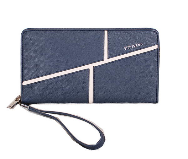 Prada Original Saffiano Leather Clutch P2650 Blue
