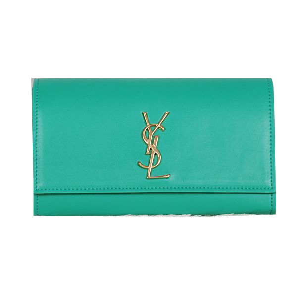 Yves Saint Laurent Classic Monogramme Clutch Bag Green