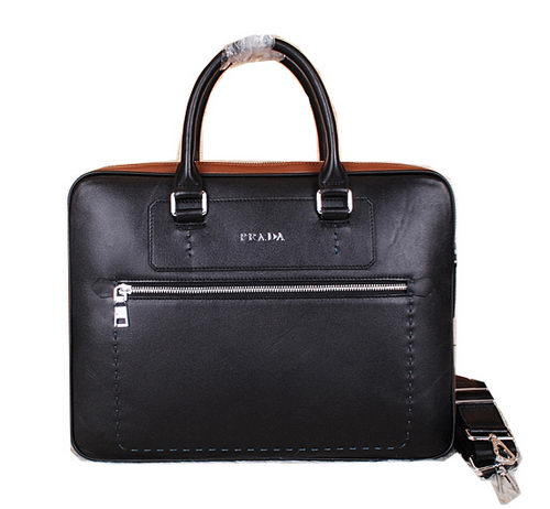 Prada Original Leather Briefcase P38081 Black