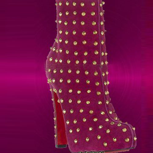 Christian Louboutin Ariella Clou Silver Studded Boot Rose