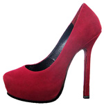 YSL platform suede high heel pump wine-red